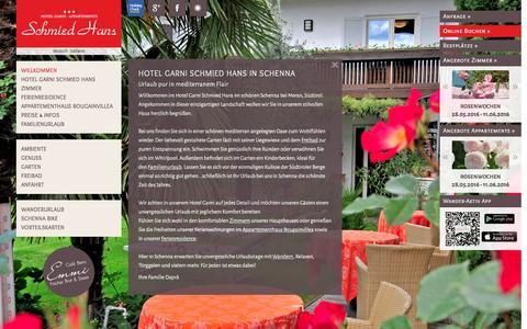 Screenshot of Home Page schmiedhans.com - Hotel Garni in Schenna | Schmied Hans *** - captured June 8, 2016