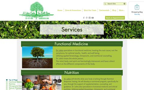 Screenshot of Services Page alebrocenter.com - Services at A Lebro Center for Well Being, Kittery Maine - captured Sept. 27, 2018