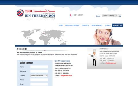 Screenshot of Contact Page bintheeban.com - :: Bin Theeban 2000 Commercial Agencies | Impoter  & Supplier of Food Stuff, Abu Dhabi, UAE, Middle East - captured Oct. 5, 2014