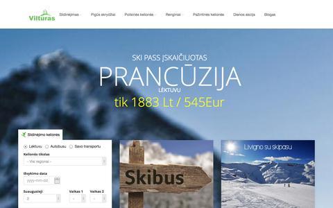 Screenshot of Home Page vilturas.lt - Vilturas - Slidinėjimo kelionės lėktuvu, autobusu, savo transportu - captured Oct. 7, 2014