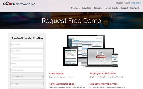 Screenshot of Demo Page ecoresoftware.com - Request Free Demo - eCore - captured June 19, 2018