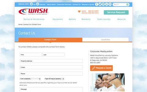 Screenshot of Contact Page washlaundry.com - Contact WASH - captured Oct. 7, 2014