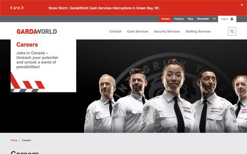 Screenshot of Jobs Page garda.com - Canada - Careers | GardaWorld - captured Feb. 10, 2019