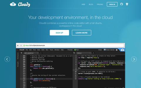 Screenshot of Home Page c9.io - Cloud9 - Your development environment, in the cloud - captured Jan. 15, 2015