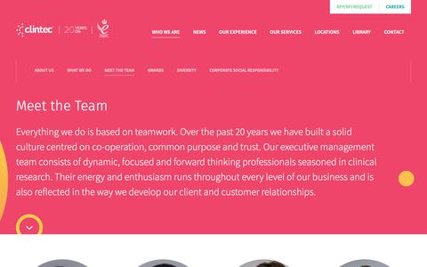Screenshot of Team Page clintec.com - Meet the Team | Clintec - captured Sept. 28, 2018