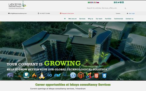 Screenshot of Jobs Page leksyaconsultancy.com - Career opportunities at leksya consultancy Services | Leksya Consultancy Services - captured Oct. 2, 2014
