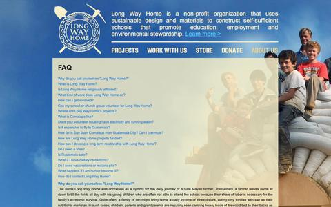 Screenshot of FAQ Page lwhome.org - FAQ | Long Way Home - Building Sustainable Schools - captured Oct. 3, 2014