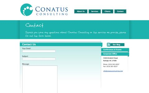 Screenshot of Contact Page conatusconsulting.com - Conatus Consulting - Biotechnology, Pharmaceutical, Medical Device and Life Sciences Consulting - captured Oct. 2, 2014