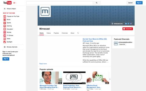 Screenshot of YouTube Page youtube.com - Mimecast  - YouTube - captured Oct. 22, 2014