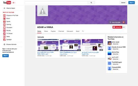 Screenshot of YouTube Page youtube.com - ADAM w HWAA  - YouTube - captured Nov. 1, 2014