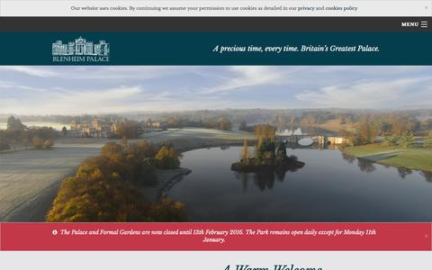 Screenshot of Home Page blenheimpalace.com - Blenheim Palace - Historic house in Oxfordshire - captured Jan. 5, 2016