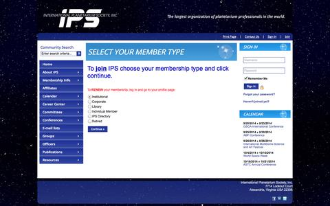 Screenshot of Signup Page site-ym.com - International Planetarium Society, Inc. - captured Sept. 18, 2014