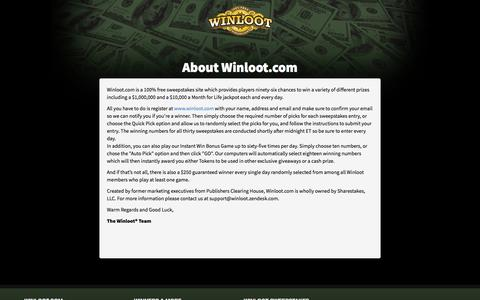 Screenshot of About Page winloot.com - About Winloot's Free Sweepstakes - captured Sept. 22, 2018