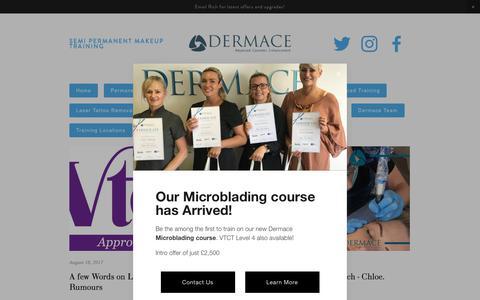 Screenshot of Press Page dermace.co.uk - News & Blog — Dermace - Semi Permanent Makeup Training & Supplies - 0844 3579 200 - captured Oct. 12, 2017