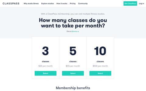Screenshot of Pricing Page classpass.com captured Feb. 15, 2018