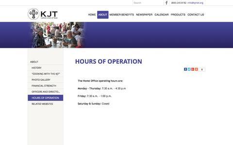 Screenshot of Hours Page kjtnet.org - HOURS OF OPERATION - Catholic Union of Texas, The KJT - La Grange, TX - captured Jan. 26, 2016