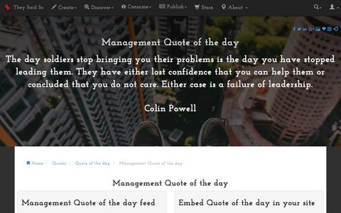 Screenshot of Team Page theysaidso.com - Management Quote of the day - captured Sept. 23, 2018