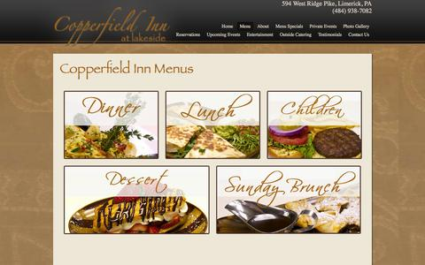 Screenshot of Menu Page copperfieldinn.net - The Copperfield Inn at Lakeside Inside Page| Restaurant, Bar, and Private Events in Limerick, PA - captured Oct. 3, 2014