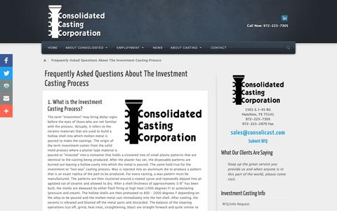 Screenshot of FAQ Page consolicast.com - Frequently Asked Questions About The Investment Casting Process   Consolidated Casting Corporation - captured Sept. 29, 2018