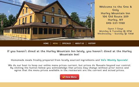 Screenshot of Menu Page hurleymountaininn.com - Luncheons | Gatherings | Ulster County | Hudson Valley | Kingston | Hurley - captured Oct. 29, 2018