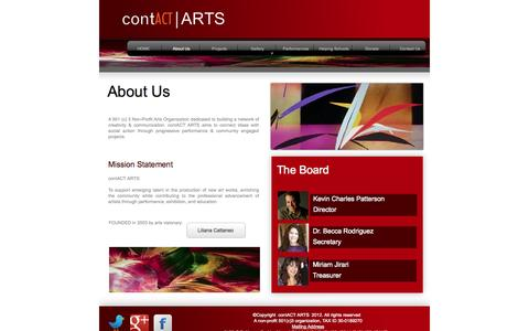 Screenshot of About Page contactarts.org - About Us - captured Oct. 3, 2014