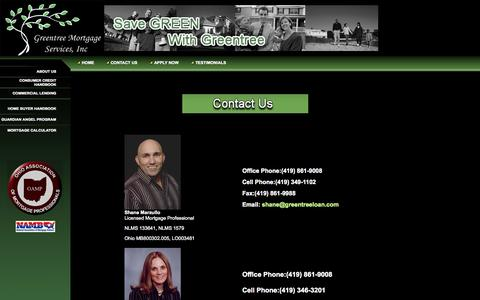 Screenshot of Contact Page greentreeloan.com - Greentree Mortgage Services - captured Oct. 6, 2014