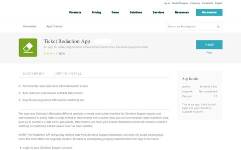 Screenshot of Support Page zendesk.com - Ticket Redaction App App Integration with Zendesk Support - captured Aug. 4, 2018