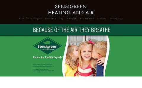 Screenshot of Testimonials Page sensigreen.com - Testimonials — SENSIGREEN HEATING AND AIR - captured Feb. 23, 2016