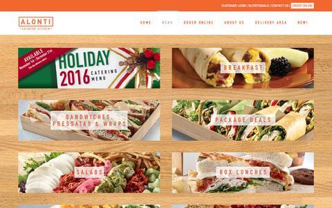 Screenshot of Menu Page alonti.com - Menu | Alonti Catering Kitchen - captured Nov. 20, 2016