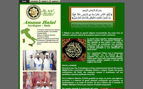 Screenshot of Home Page amanahalal.com - Amana Halal - Certificazione di prodotti alimentari Halal - Sassari Sardegna - captured Sept. 30, 2014