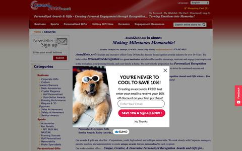 Screenshot of About Page awardzone.net - AwardZone.net - Personalized Awards & Gifts... Creating Personal Engagement through Recognition…Turning Emotions into Memories! About Us AwardZone.net - Personalized Awards & Gifts... Creating Personal Engagement through Recognition…Turning Emotions  - captured Nov. 13, 2018