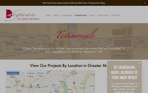 Screenshot of Testimonials Page degnandesignbuildremodel.com - Testimonials — Degnan Design-Build-Remodel - captured Oct. 12, 2017