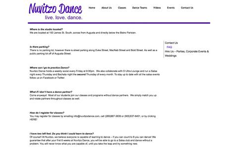 Screenshot of FAQ Page nuvitzodance.com - FAQ | Nuvitzo Dance - Hamiltons Hottest Salsa and Bachata School. live. love. dance. - captured Oct. 9, 2014