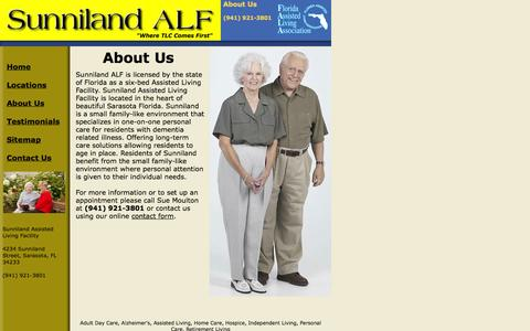Screenshot of About Page sunnilandmanor.com - About Sunniland Assisted Living Facility - captured Oct. 7, 2014