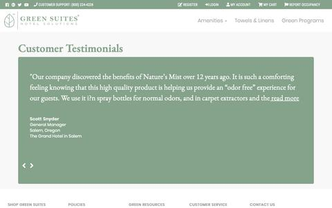 Screenshot of Testimonials Page greensuites.com - Customer Testimonials - Hotel Amenity Dispensers & Green Programs | Green Suites® Hotel Solutions - captured Sept. 30, 2018