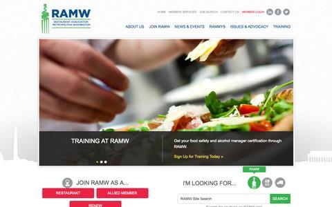 Screenshot of Home Page ramw.org - Restaurant Association of Metropolitan Washington - captured Sept. 25, 2014