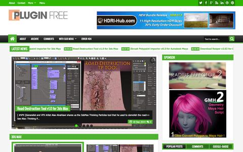 Screenshot of Home Page pluginsfree.net - Plugins Reviews and Download free for CG Softwares - captured Sept. 23, 2014