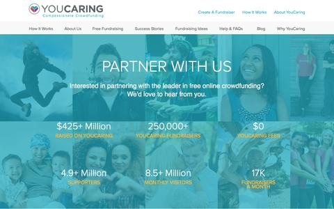 Screenshot of Landing Page youcaring.com - YouCaring   Partners - captured Aug. 19, 2016