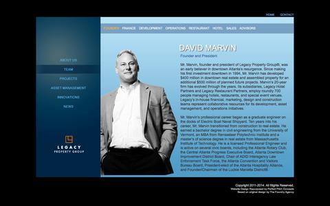 Screenshot of Team Page legacyproperty.com - David Marvin, Founder and President of Legacy Property Group - captured Oct. 2, 2014