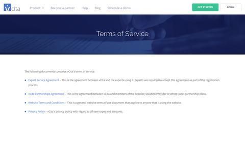 Screenshot of Terms Page vcita.com - Terms of Service | vCita - captured Sept. 21, 2018