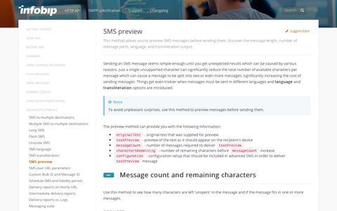 SMS preview · SMS API | Infobip