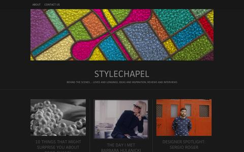 Screenshot of Blog wordpress.com - stylechapel | Behind the scenes… loves and longings, ideas and inspiration, reviews and interviews - captured Sept. 12, 2014