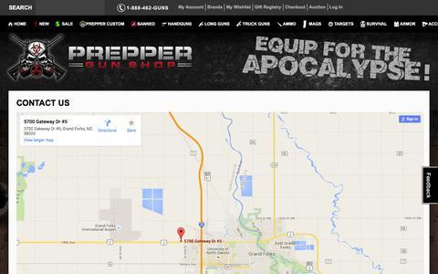 Screenshot of Contact Page preppergunshop.com - Prepper Guns Contact Us Prepper Gun Shop - captured Jan. 18, 2016