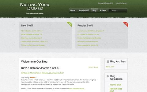 Screenshot of Blog writingyourdreams.com - Blog - captured Oct. 6, 2014