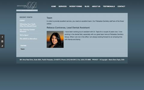 Screenshot of Team Page palisadesdentistry.com - Maria Elena Tapia, DDS | Team - Maria Elena Tapia, DDS - captured Oct. 5, 2014