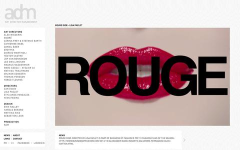 Screenshot of Press Page admanagement.com - - News - Rouge Dior - Lisa Paclet - Art Director Management - captured Oct. 4, 2014