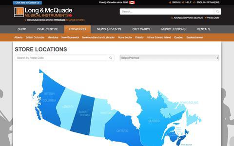 Screenshot of Locations Page long-mcquade.com - Music Stores - Long & McQuade Locations - captured Sept. 22, 2018