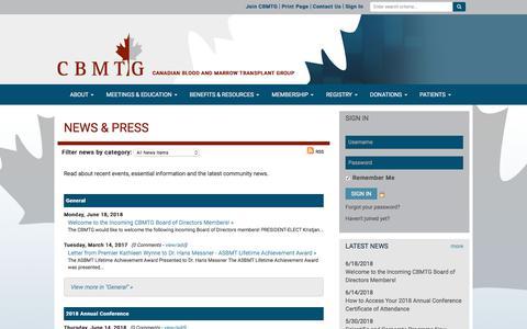 Screenshot of Press Page cbmtg.org - News & Press - CBMTG - captured June 27, 2018