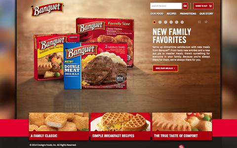 Screenshot of Home Page banquet.com - The Best Frozen Meals and Snacks for Your Family | Banquet - captured Jan. 26, 2015