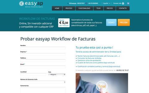 Screenshot of Trial Page workflowfacturas.es - Probar easyap Workflow de Facturas | Workflow de Facturas - captured Oct. 6, 2014